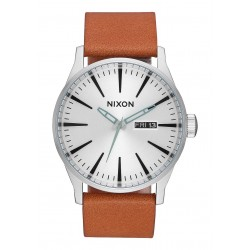 RELÓGIO NIXON SENTRY LEATHER SILVER /TAN