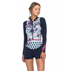 FATO DE SURF ROXY POP SURF 2MM L/S FRONT ZIP SPRING NAVY