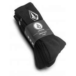 MEIAS VOLCOM FULL STONE 3X PACK BLACK