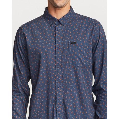 CAMISA RVCA PRELUDE FLORAL MOODY BLUE