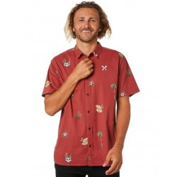 CAMISA GLOBE HALF CUT BRICK RED