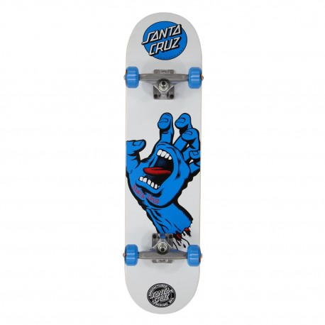 "SKATE SANTA CRUZ 7.75"" SCREAMING HAND COMPLETE WHITE/BLUE"