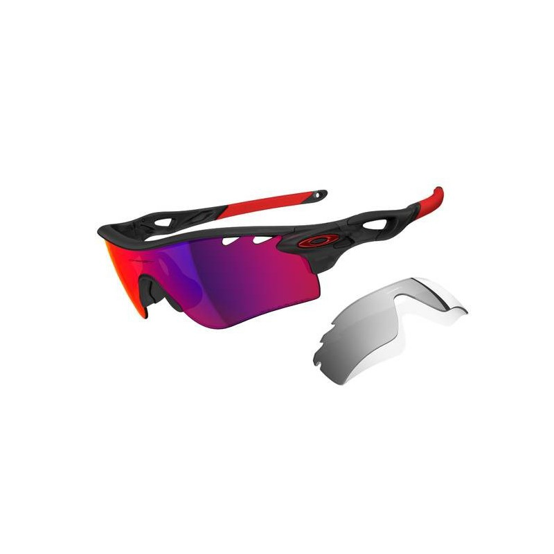 5b6962ddf0adb ÓCULOS DE SOL OAKLEY RADARLOCK PATH VENTED POLARIZED MATTE BLACK INK RED  IRIDIUM W CLEAR