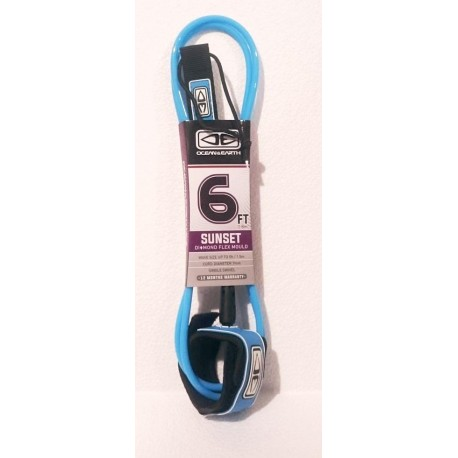 "LEASH O&E SUNSET 6'0"" MOULDED BLUE"